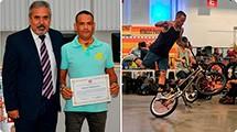 Vereador Julio homenageia atleta de são roque vice-campeão brasileiro de BMX Flatland